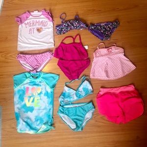 5 girls swim suit and cover up size 7/8